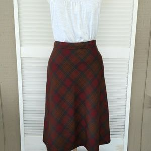 BrooksBrothers plaid tartan wool A-line midi skirt
